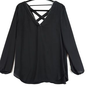 Dynamite black cross cross open back blouse